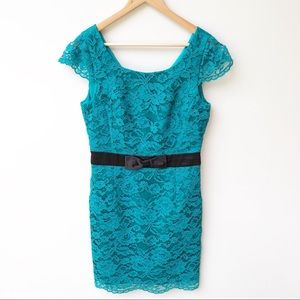 Review Teal Lace Cap Sleeve Formal Cocktail Dress